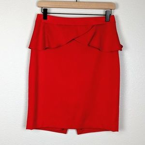 Express Red Pencil Skirt with Ruffle Detailing